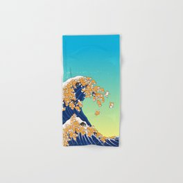 Shiba Inu in Great Wave Hand & Bath Towel
