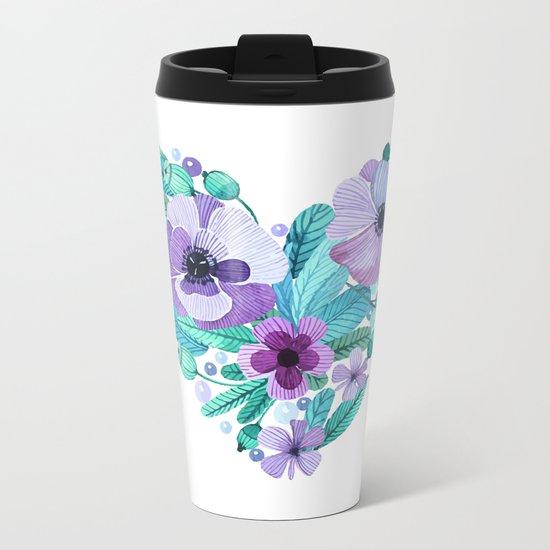 Flower heart Metal Travel Mug