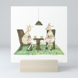 Sheep knitting Mini Art Print