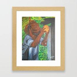 Drinking a Coconut Framed Art Print