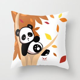 Sleepy Panda in a Tree Throw Pillow