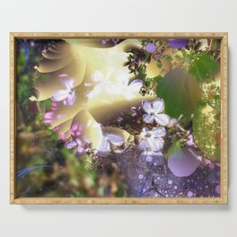 Floral fractals mixed reality Serving Tray