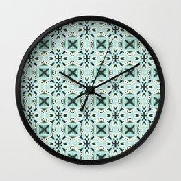 Classic green ivory black Italian motif pattern Wall Clock