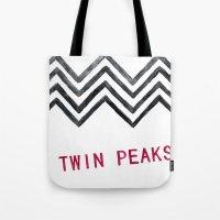 twin peaks Tote Bags featuring Twin Peaks by BITN