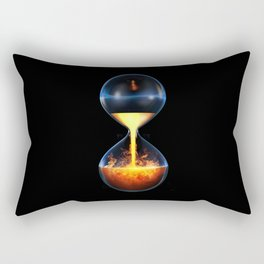 Old flame / 3D render of hourglass flowing liquid fire Rectangular Pillow