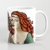 women Mugs featuring Women by Mickt Flior