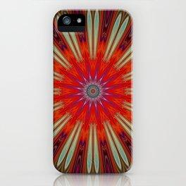 Vibrant Orange Star Mandala iPhone Case