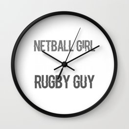 Netball Girl In Love With The Rugby Guy Wall Clock