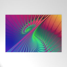Outburst Spiral Fractal neon colored Welcome Mat
