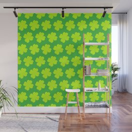 St. Patrick's Day Neon Green Shamrock Pattern Wall Mural