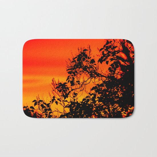 Silhouette of leaf with red autumn sky  Bath Mat