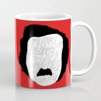 edgar allan poe Mugs featuring Edgar Allan Poe: Insanity by Kelly Irene