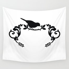 Bird Frame in Black and White Wall Tapestry