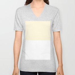 White and Cornsilk Yellow Horizontal Halves Unisex V-Neck