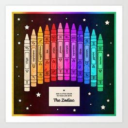 Zodiac Crayon Box Art Print