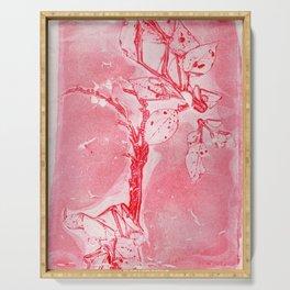 Bronx Red Waterfront Plantlife (Leaf Monotype Print Series) Serving Tray