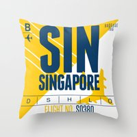 singapore Throw Pillows featuring Singapore Tag by Studio Tesouro