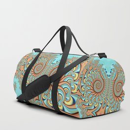 Owl Fractal Turquoise and Orange Duffle Bag