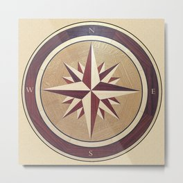 Wind rose drawn on a wooden surface Metal Print
