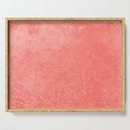 Living Coral - Color of the year 2019, Millennial Pink Grunge Ombre Pastel Texture Serving Tray