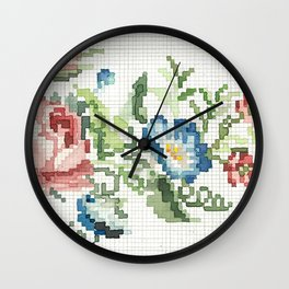Flower Embroidery Wall Clock