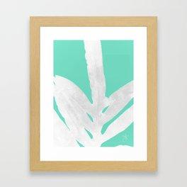 Green Fern on Ice Mint Green Inverted Silver Framed Art Print