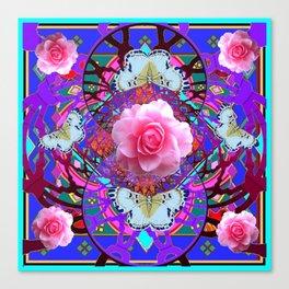 PINK ROSES WHITE BUTTERFLIES  PURPLE NATURE  ART Canvas Print