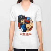 steve rogers V-neck T-shirts featuring Steve Rogers, The Fist Avenger by Randy Meeks