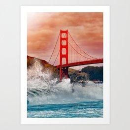 Waves over Red Bridge Art Print