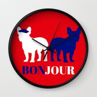 bonjour Wall Clocks featuring Bonjour by Laura Maria Designs