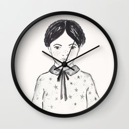 A little girl and the stars Wall Clock