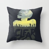 clear Throw Pillows featuring CLEAR by Kidney Theft