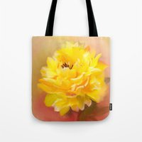dahlia Tote Bags featuring Dahlia by Mary Timman