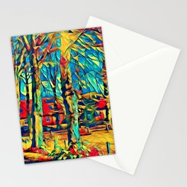 Country house in Art Stationery Cards