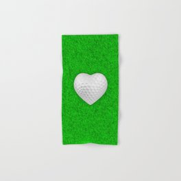 Golf ball heart / 3D render of heart shaped golf ball Hand & Bath Towel