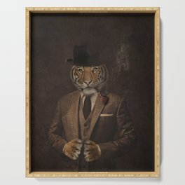 The pipe smoking Gentle Tiger Serving Tray