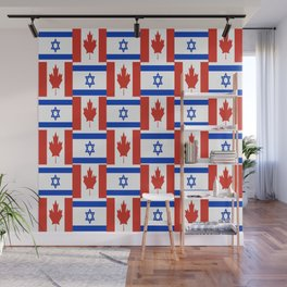 Mix of flag : canada and israel Wall Mural
