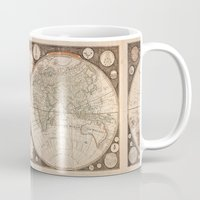 world map Mugs featuring World Map by Le petit Archiviste
