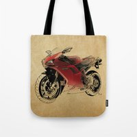 ducati Tote Bags featuring Ducati 1098 S by Larsson Stevensem