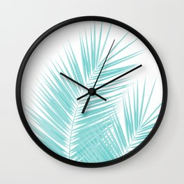 Soft Turquoise Palm Leaves Dream - Cali Summer Vibes #1 #tropical #decor #art #society6 Wall Clock