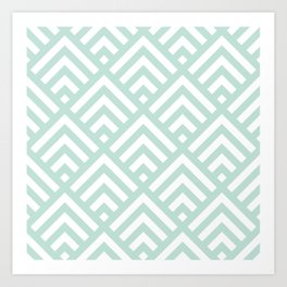 Turquoise Blue geometric art deco diamond pattern Art Print