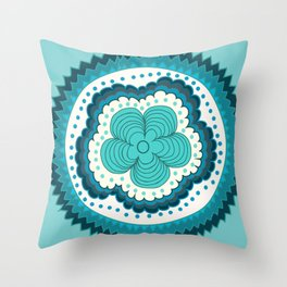 Icy Blue Radiance  Throw Pillow