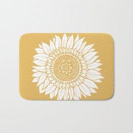 Yellow Sunflower Drawing Bath Mat