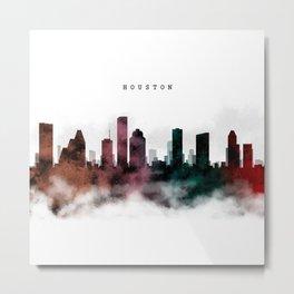 Houston Watercolor Skyline Metal Print