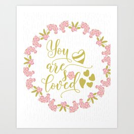 You are So Loved Nursery Typography Art Art Print