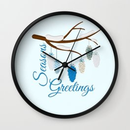 Seaons Greetings With Pine Cones Wall Clock