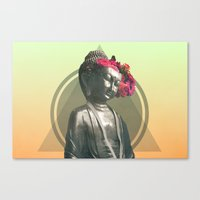 buddah Canvas Prints featuring Floral Buddah by EK9GraphicDesign