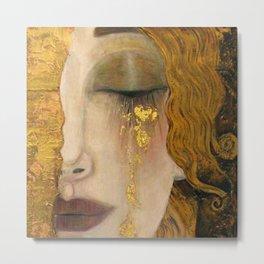 Golden Tears (Freya's Heartache) portrait painting by Gustav Klimt Metal Print