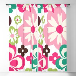 Big And Small Abstract Colorful Flowers Pattern Blackout Curtain