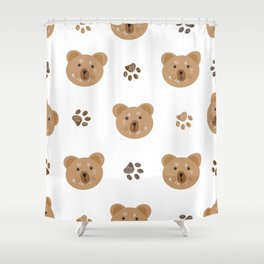 Brown doodle paw print and teddy bear white Shower Curtain